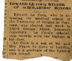 "Newspaper article ""Edward LeCocq Winner of Scholarship Honors,"" n.d. by Unknown Newspaper"