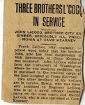 "Newspaper article ""Three Brother L'Cocq in Service,"" n.d. by Unknown Newspaper"