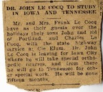 Newspaper excerpt, John LeCocq to study in Iowa, n.d. by Unknown Newspaper