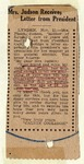 "Newspaper clipping ""Mrs. Judson Receives Letter from President"", November 21, 1924 by Newspaper"