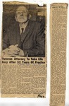 "Newspaper article ""Veteran Attorney to Take Life Easy After 52 Years of Practice"", August 18, 1966 by The Lynden Tribune"