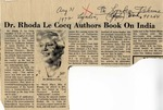 "Newspaper Article ""Dr. Rhoda LeCocq Authors Book on India"", August 31, 1972 by The Lynden Tribune"