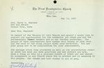 Letter from First Presbyterian Church, Alton, 1961