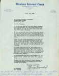 Letter from Miraloma Reformed Church, 1962