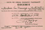Delta Psi Omega Fraternity Charter Receipt, 1951 by P. F. Opp