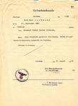 Birth certificate (Geburtsurkunde) of Paul Curt Bachmann, issued August 3, 1943