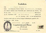 Baptismal certificate (Taufschein) of Paul Curt Bachmann, issued August 2, 1943
