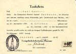 Baptismal certificate (Taufschein) of Paul Curt Bachmann, issued August 2, 1943