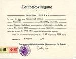 Baptismal Certificate (Taufbescheinigung) of Marie Elise Müller, Issued August 5, 1943