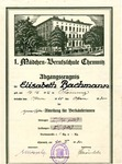 Diploma/Report Card of Elisabeth Bachmann from a Girl's Vocational School in Chemnitz, Germany, 1930
