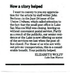 Letter to the editor by Elizabeth Wolff, undated